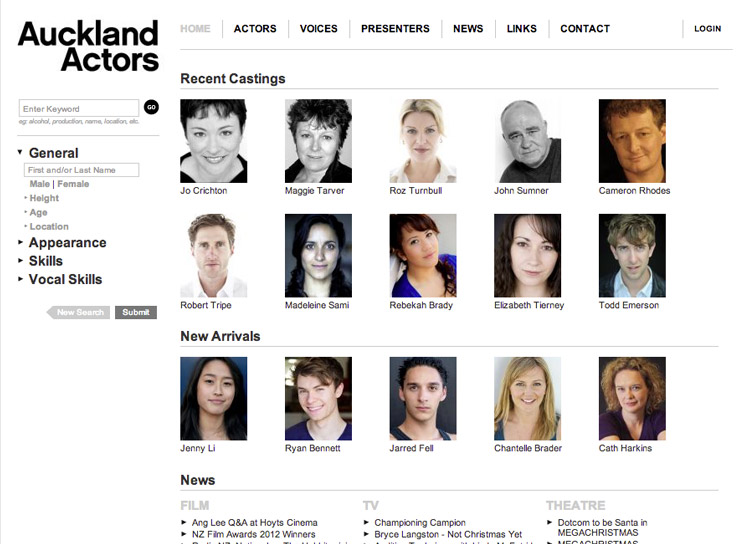 Auckland Actors - Website Development