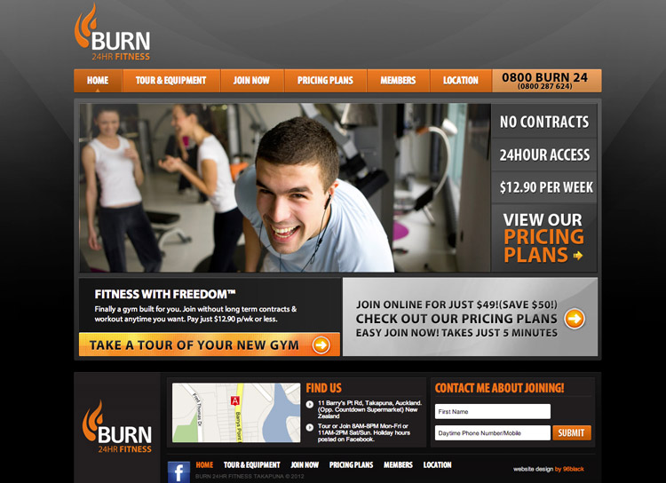 Burn Fitness - Website Design and Development