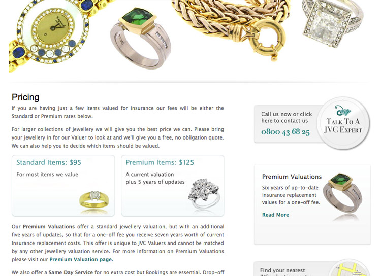 Jewellery Valuation Centre - Website Design and Development