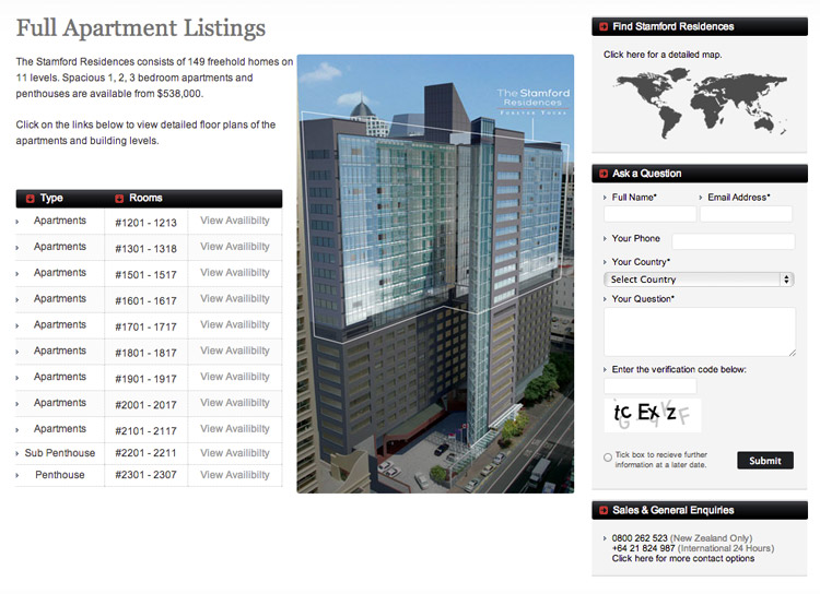 Stamford Residences - Website Design and Development