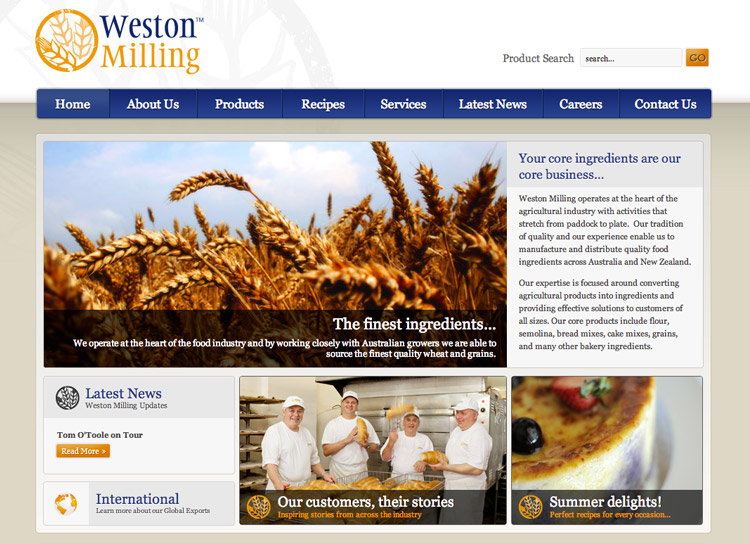 Weston Milling - Website Design and Development